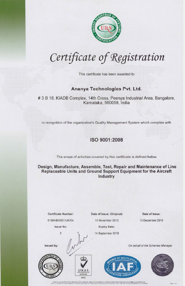 Ananya Technologies - Overview - Certifications